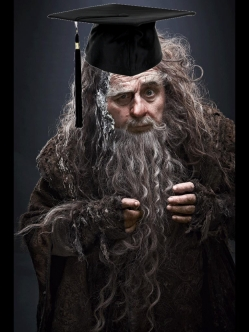 Dr Radagast the Brown proves that science and magic need not be at odds with each other. Image where he's removed his mortarboard here