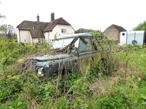 This rusted old Land Rover has been here as long as I can remember. The brambles are actually growing all up the inside. I think Dad parked it there once with a view to fixing it up one day and never quite got round to it...