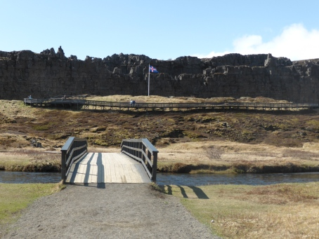 Rift valley and stepped fissure at Thingvellir, Iceland