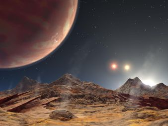 April 2014 artist's impression of the view from an exomoon