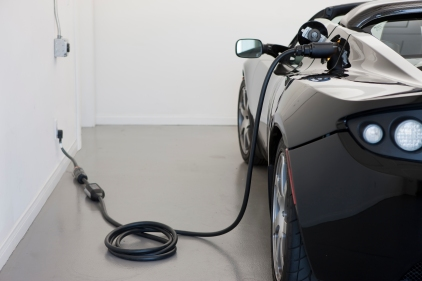 June 2014 Tesla roadster charging from a standard outlet