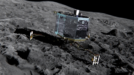 November 2014 Philae lander on the surface of comet 67/P, the first ever comet landing mission